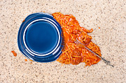 Spaghetti Noodles Framed Prints - Dropped plate of spaghetti on carpet Framed Print by Joe Belanger