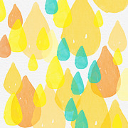 Drops Of Sunshine- Abstract Painting Print by Linda Woods