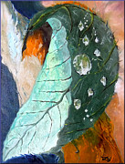 Tree Leaf On Water Originals - Drops on a leaf by Daniel Janda