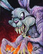 Bunny Paintings - Drugs Bunny by Michael Vanderhoof