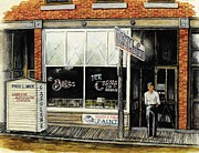 Nostalgic Drawings Prints - Drugstore-Ice Cream Parlor Print by Todd Spaur