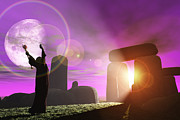 Stonehenge Digital Art Prints - Druid greets the dawn at Stonehenge Print by Mike Heywood