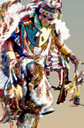 Powwow Posters - Drum Dancer Poster by Linda  Parker