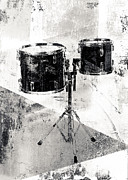 Black And White Drum Posters - Drum Kit Poster by David Ridley