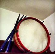 Drum Sticks Posters - Drum on Shelf Poster by Michael Kannengieser
