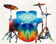 Sharon Cummings - Drum Set Art - Color Fusion Drums - By Sharon Cummings