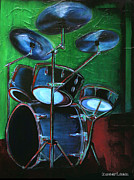 Lead Singer Painting Framed Prints - Drum Solo Framed Print by KWC Art