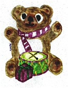 Animal Pastels Pastels Prints - Drummer Teddy Print by Shaunna Juuti