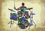 Drummer Metal Prints - DRUMS in the SPOTLIGHT Metal Print by Daniel Hagerman