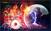 Drummers Digital Art Metal Prints - Drums Of Thunder Metal Print by King David