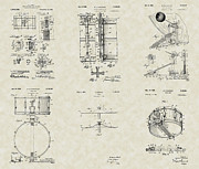 Technical Art Drawings Prints - Drums Patent Collection Print by PatentsAsArt
