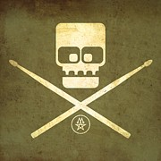 Alternative Music Prints - Drumskull Print by Milton Thompson