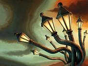 Drunk Streetlamps Print by Remus Brailoiu