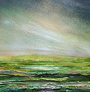 Rhythms Prints - DRuridge Bay Rhythms and Textures Green and Gold Print by Mike   Bell