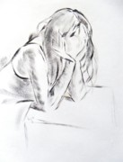 Pensive Drawings Originals - Dry brush painting of a young womans face by Mike Jory