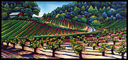 Wine Vineyard Mixed Media Prints - Dry Creek Vineyard Print by Lisah Horner