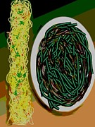 Noodles Painting Prints - Dry Sauteed Stringbeans Print by Lisa Owen-Lynch