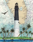 Chart Painting Posters - Dry Tortugas Lighthouse FL Chart Map Art Poster by Cathy Peek