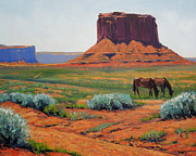 Wash Painting Originals - Dry Wash Monument Valley by Gary Melvin