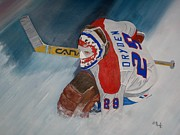 Goalie Paintings - Dryden by Clifford Knoll