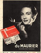 Smoking Drawings Framed Prints - Du Maurier 1950s Uk Cigarettes Smoking Framed Print by The Advertising Archives