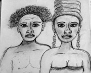 Man And Woman Drawings - Dual Ethnicity by Catherine Ratliff