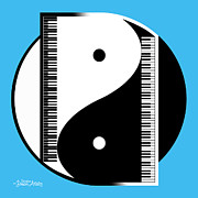 Yin Yang Posters - Duality In Blue Poster by Cristophers Dream Artistry