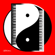 Yin Yang Posters - Duality in Red Poster by Cristophers Dream Artistry