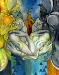 Figurative Metal Prints - Duality Metal Print by Patricia Ariel