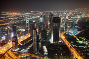 Arabia Framed Prints - Dubai aerial Skyline at night Framed Print by Fototrav Print