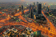 Highway Lights Prints - Dubai Areal View at Night Print by Lars Ruecker