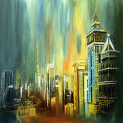 Downtown Painting Metal Prints - Dubai Downtown Skyline Metal Print by Corporate Art Task Force