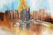 Dubai Paintings - Dubai Marina Complex by Corporate Art Task Force
