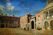 Castle Gates Framed Prints - Dublin Castle. Streets of Dublin. Painting Collection Framed Print by Jenny Rainbow