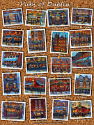 William Street Framed Prints - Dublin Pubs Corkboard Framed Print by Chris Mc Morrow