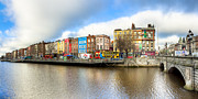 Winter Travel Photo Posters - Dublin River Liffey Panorama Poster by Mark E Tisdale