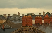 Red Roof Mixed Media Framed Prints - Dublin Rooftops Framed Print by Louise Fahy