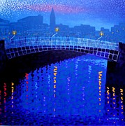 Bridge Framed Prints Posters - Dublin Starry Nights Poster by John  Nolan