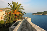 Stone Roof Framed Prints - Dubrovnik Fortress Wall Seaview Framed Print by Kiril Stanchev