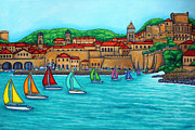 Europe Painting Acrylic Prints - Dubrovnik Regatta Acrylic Print by Lisa  Lorenz