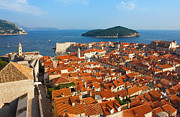 Panoramic Marina Framed Prints - Dubrovnik Sunny Afternoon Panoramic View with The Harbor and old Framed Print by Kiril Stanchev