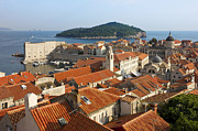 Dubrovnik Acrylic Prints - Dubrovnik Sunny Afternoon Panoramic View with The Harbor Acrylic Print by Kiril Stanchev