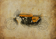 Indian Ink Mixed Media - Ducati 750 Sport 1973 by Pablo Franchi
