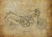 Classic Monster Drawings Posters - DUCATI MONSTER 695d 2007 Poster by Pablo Franchi
