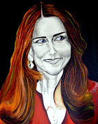 Kate Middleton Painting Framed Prints - Duchess of Cambridge Framed Print by Prasenjit Dhar