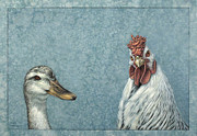 Funny Animals Posters - Duck Chicken Poster by James W Johnson