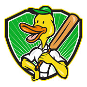 Cricket Prints - Duck Cricket Player Batsman Cartoon Print by Aloysius Patrimonio