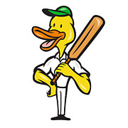 Duck Cricket Player Batsman Standing Print by Aloysius Patrimonio