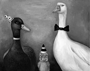 Nursery Rhyme Paintings - Duck Duck Goose bw by Leah Saulnier The Painting Maniac