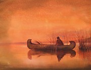Native American Watercolor Paintings - Duck Hunter by Robert Hooper